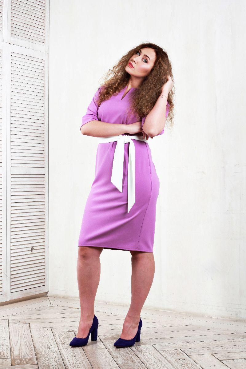527593097b5 Платье из крепа с цельнокроеным рукавом фиолетового цвета