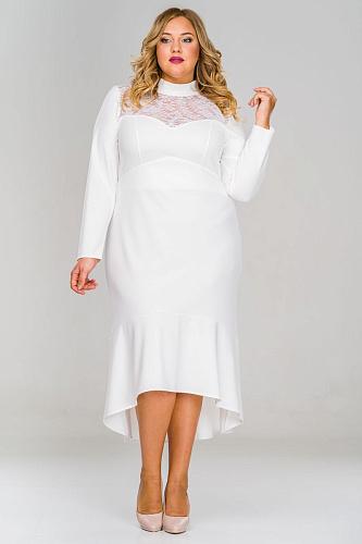 62ef82a1718 Платье с асимметричным низом и кокеткой из кружева